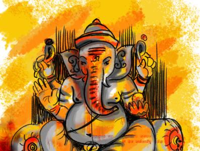 Ganesha Digital Painting minimal elegant ganesha art design colour colourful digital drawing digital art creative digital painting