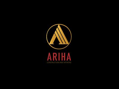 Ariha 3d logo real estate builders buildings golden icon alphabet a vector design creative business busi graphic design branding logo 3d