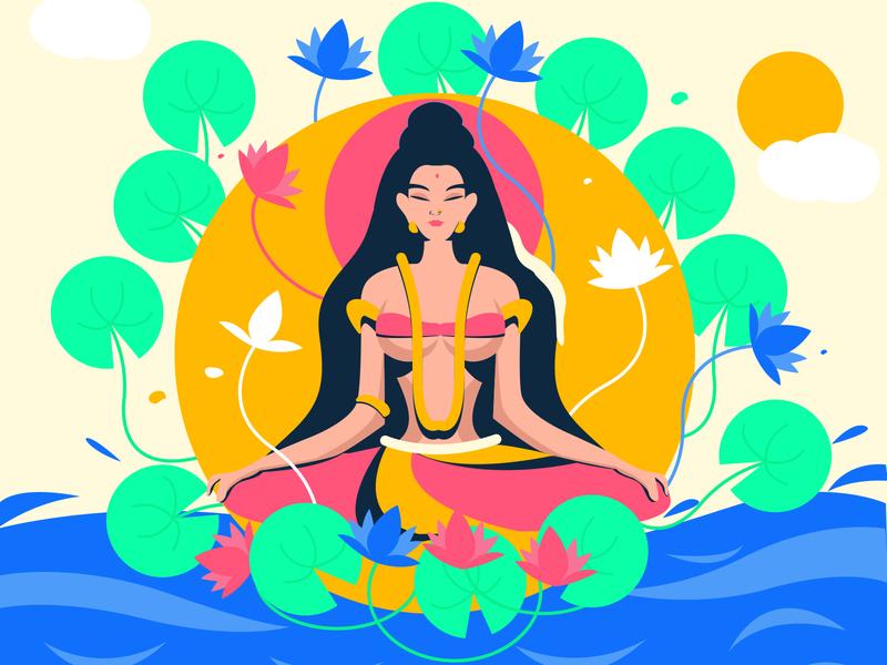 Devi traditional illustration indian goddess indian