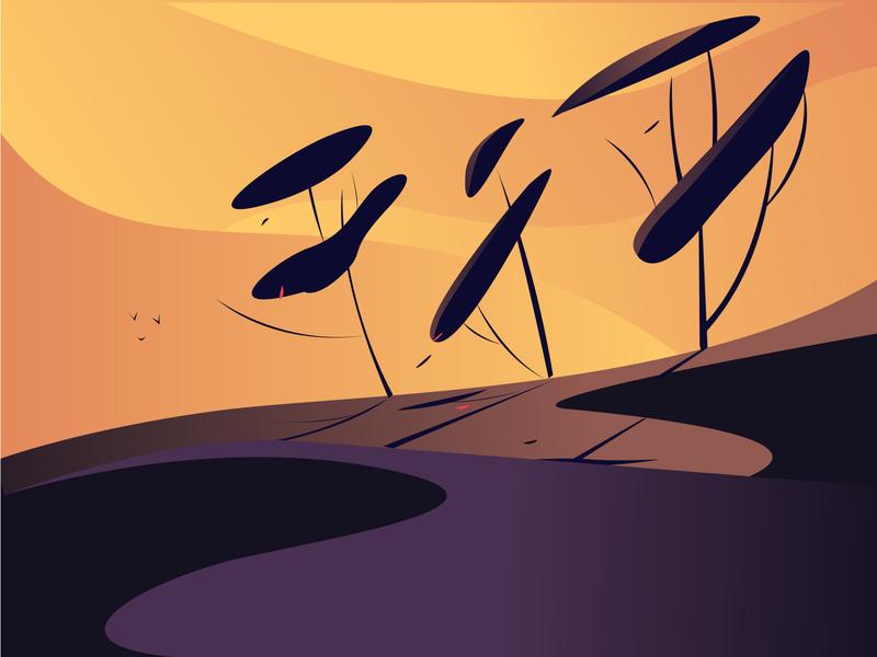 Evening landscape vector illustration