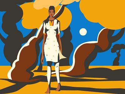 Lonely girl illustration