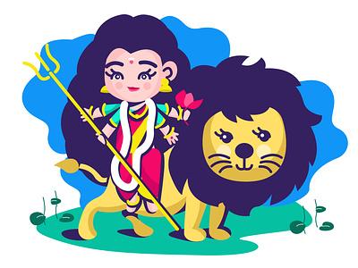 Baby Durga hindugoddess religios goddess indian illustration