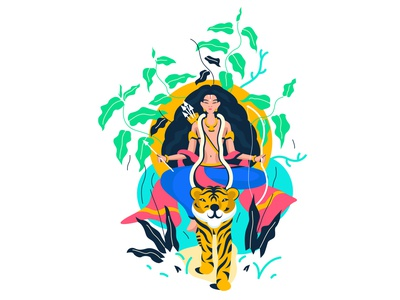 shastha traditional hindugoddess religios goddess illustration