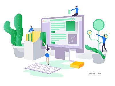 Web design and Development e-commerce ios development web development web design vector illustration