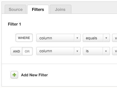 Creating filters via drop downs