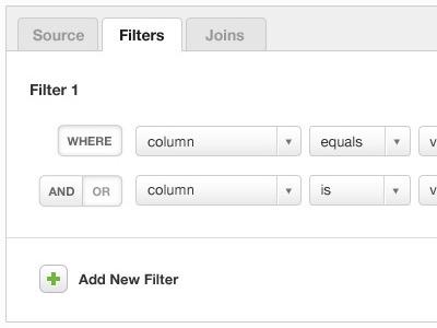 Creating filters via drop downs