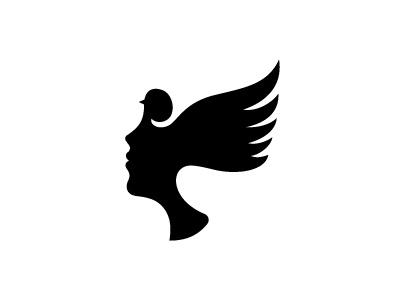 lady bird mask silhouette logo minimal woman bird ff