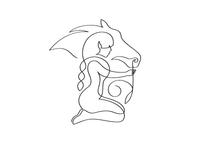 Girl & horse horse flower illustration minimal monoline line ff
