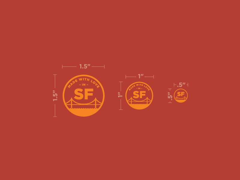 Stamp Sizes gold measure dimensions mark red seal san francisco sf san francisco logo