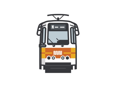Throwback Muni Train yellow orange flat old school sfxo public transit san francisco sf municipal muni