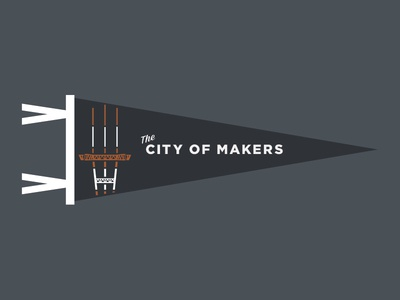 """The City of Makers"" Pennant san francisco sf baseball script pennant sutro tower"