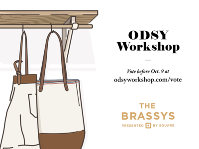 Vote Odsy Workshop for a Brassy! workshop square cloth apron leather