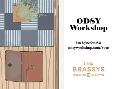 Vote Odsy Workshop for a Brassy! - 2 workshop square leather succulent wallet