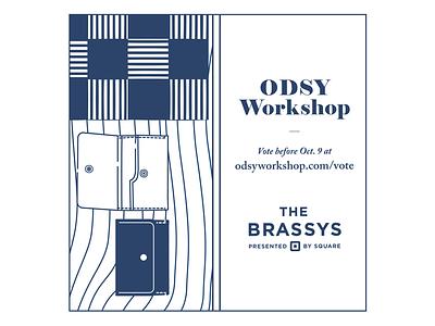 Vote Odsy Workshop for a Brassy! -2, Blue Version workshop square leather wood grain pattern wallet