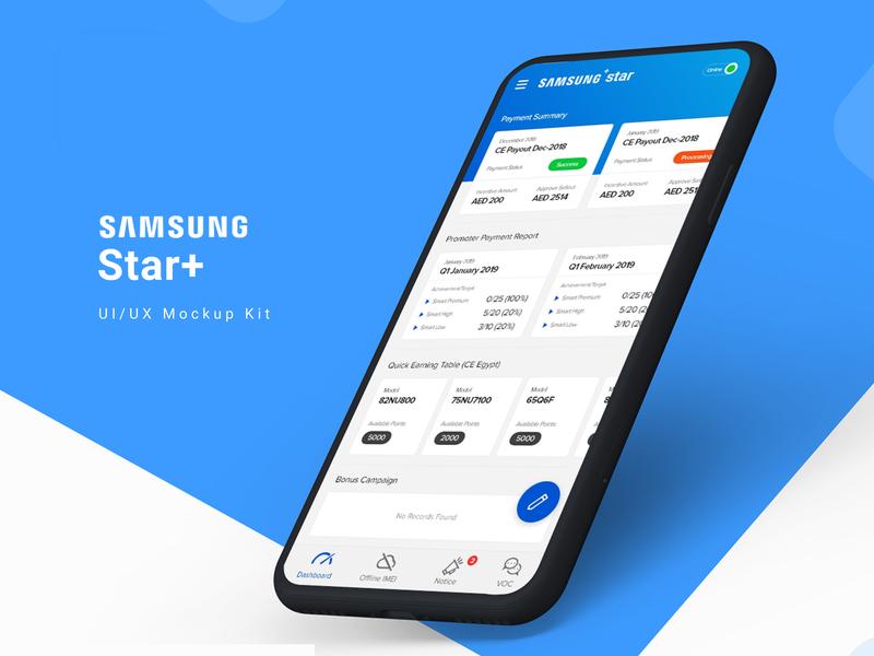 Samsung Star+ App design ui mockup uiux