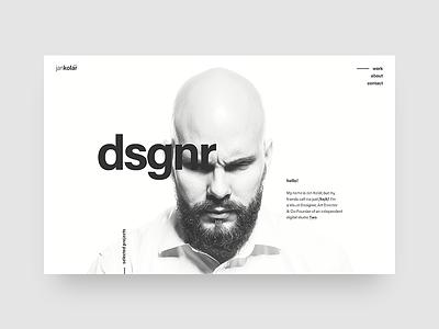 My portfolio - Main screen dsgnr beard white minimal layout grid typo designer portfolio ui web