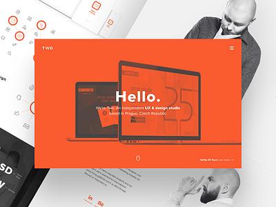 TWO - UX & Design studio greyscale minimal hard work case study portfolio work bros orange ux studio design two