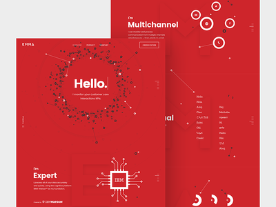 EMMA - main page two brand identity product analytic microsite web beard design red emma