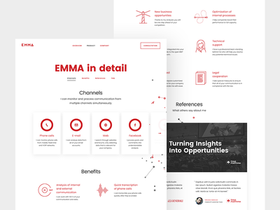 EMMA - product page web two white red product microsite identity emma design brand beard analytic