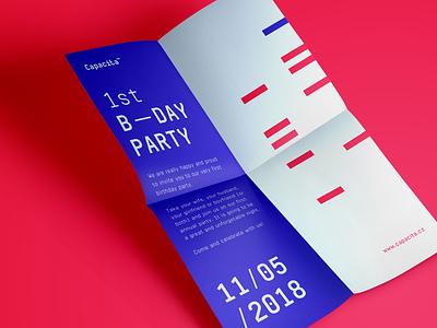Capacita - Invitation typography blue red paper invitation level up capacita brand identity
