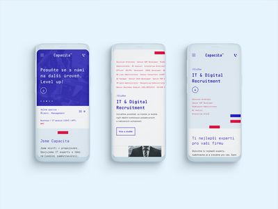 Capacita - mobile product page homepage brand identity level up capacita blue red design mobile website