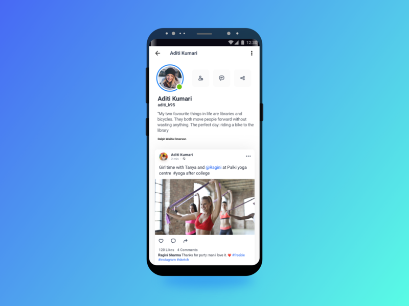 Friend's Profile profile concept profile page interaction design ui daily ui 100 chat app product design indian app hike messanger uiuxdesign uidesign