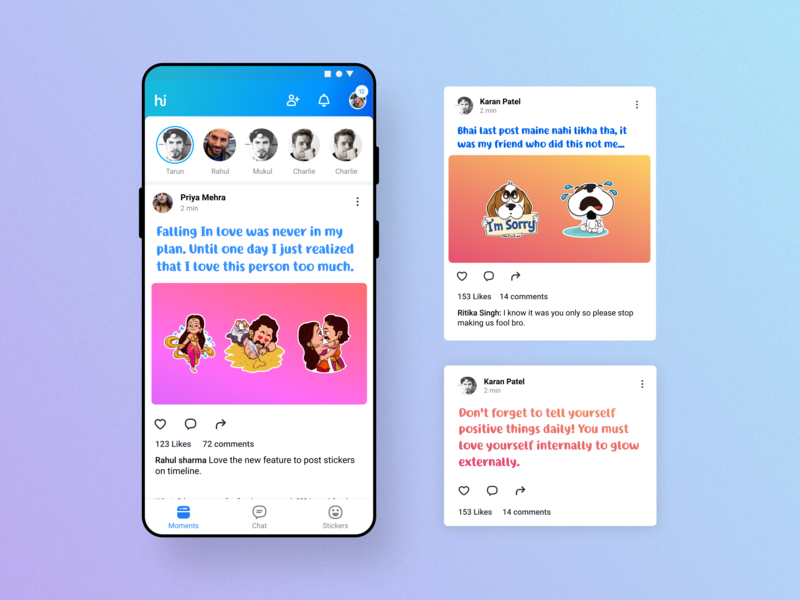 Post Sticker To Timeline daily ui indian app hike messanger interaction design uidesign uiux sticker sticker design messenger timeline post expressions chat app
