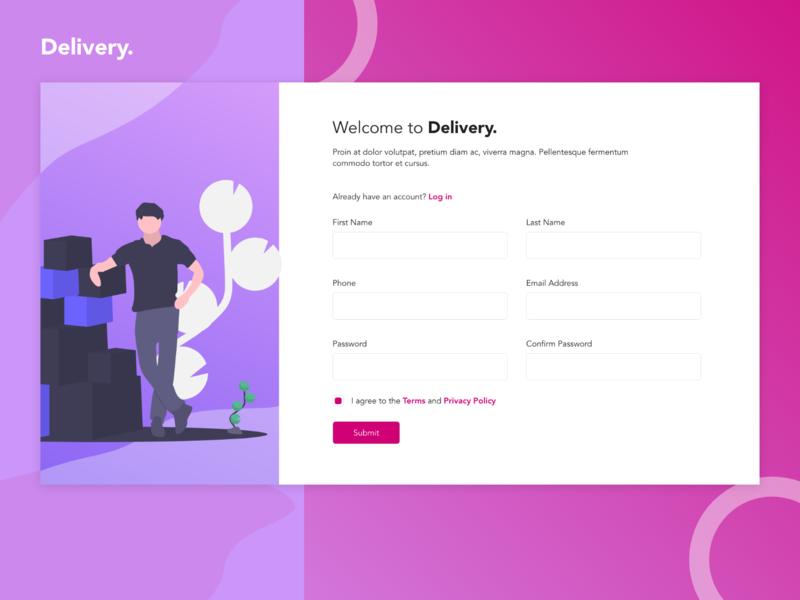 Delivery Registration Landing Page animation app website web ux ui flat minimal design