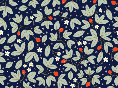strawberry pattern on navy illustration leaves patterns strawberries strawberry