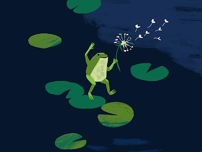 frog dance pond seeds lilypads frog