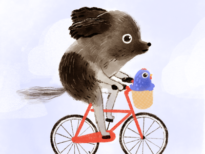 toodles kidlit illustration chicken dog bicycle