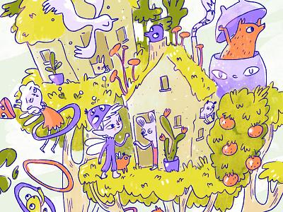 knock knock critters treehouse fairy illustration