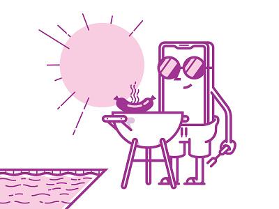 Grill Labor poolside grill mobile smartphone labor day summer illustration