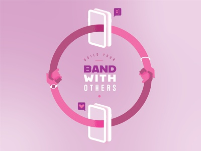 Band With Others mobile connection togetherness illustration