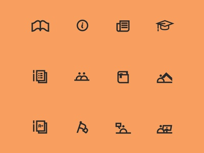 black & orange icon set icon design iconography design graphic design illustration