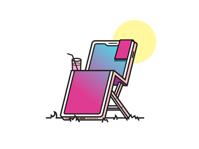 Lounge n' Phone chair lounge smartphone illustration