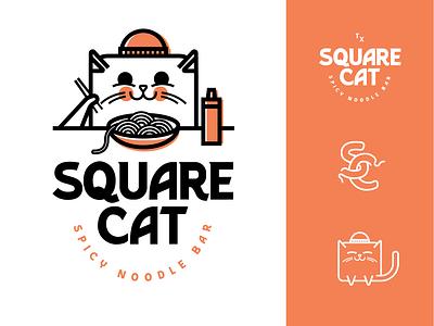 Spicy and Huggable ramen noodles cat restaurant logo design illustration