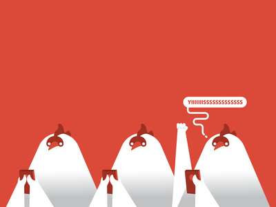 Mobile Gaming in the Coop gaming chickens hens illustration