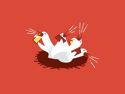 Chatty Nest phones nest birds illustration