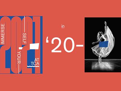 '20–'21 arts center 2020 mailer typography graphic design