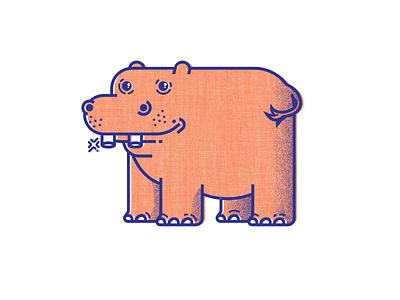 It's Tooth Time - II design hippo teeth animals illustration