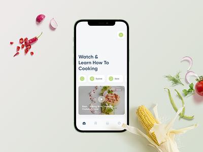 Watch & Learn (Video Tutorial) food app social media ui ux mobile minimal app ios tutorial cooking video explore stories home page social network
