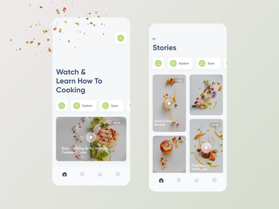Watch & Learn (Video Tutorial) food app social media ui ux mobile minimal app ios tutorial cooking video explore stories home page social network