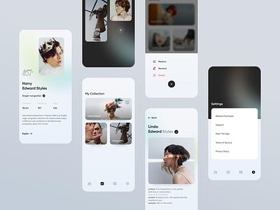 App UI settings product design android app mobile app app application clean ios ui ux icon menu stories profile