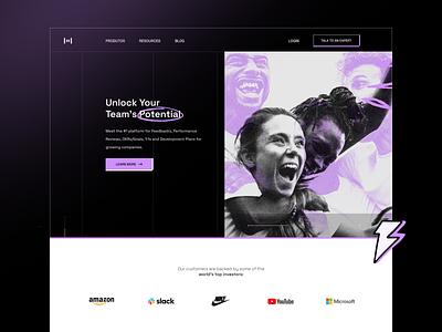Unlock Your Team's Potential saas header product design typography seo marketing landing page management branding agency website web design