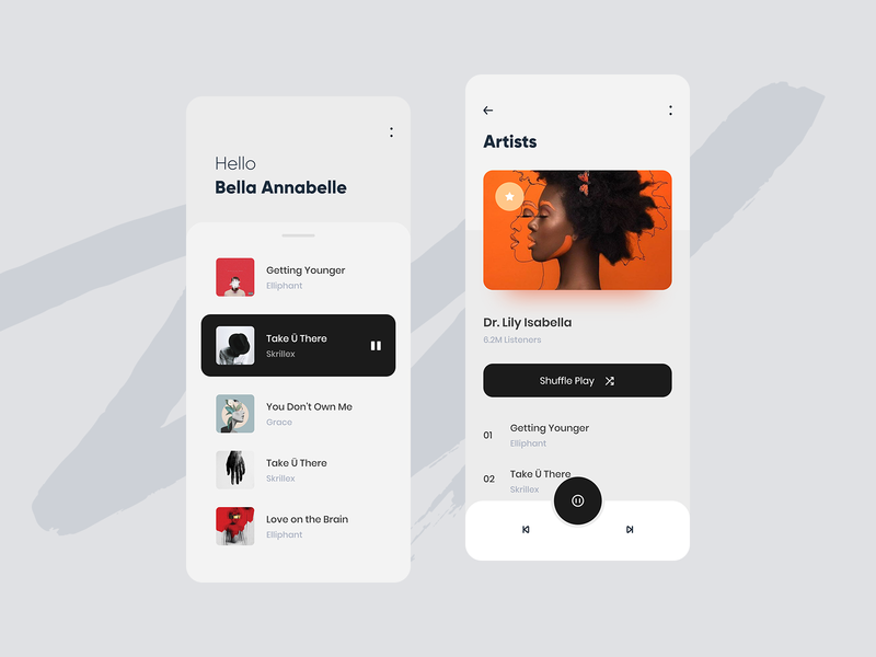 Play Music V2 adobe xd music profile artwork music app application app design clean minimal ux ui app android app ios mobile app mobile trend 2019