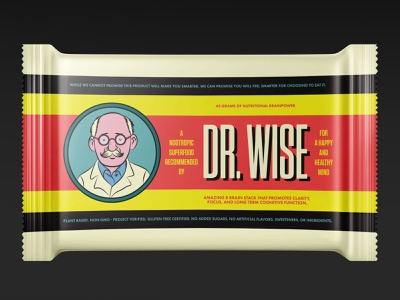 Dr. Wise Nootropic Food Bars design brand graphic design adobe illustrator illustration logos logo branding retail food packaging nootropic concept product design package design packaging