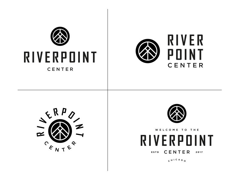 River Point Center Chicago Branding brand design graphic design type typography logos logo branding