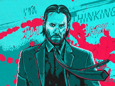 John Wick Poster typography branding illustrate draw vector vector art drawing portrait illustration poster