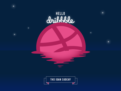 First Shot | Hello Dribbble! design thanks space moon invite invation illustration first shot dribbble debut